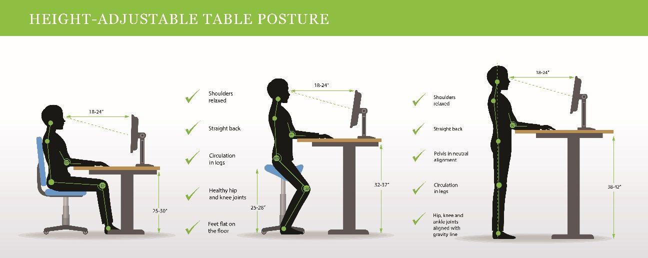 schéma bureau assis debout